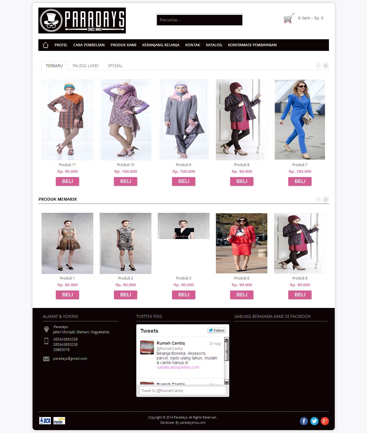 Homepage Web Toko Online